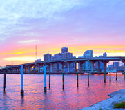City of Miami Florida, colorful sunset panorama Royalty Free Stock Photography