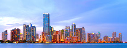 City of Miami Florida, colorful sunset panorama. Of downtown business and residential buildings Royalty Free Stock Images