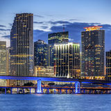 CIty of Miami Florida, illuminated business and residential buil Stock Image