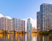City of Miami Florida, night skyline Stock Images