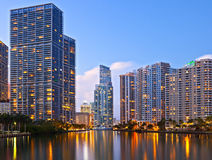 City of Miami Florida, night skyline Stock Photography
