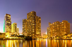 City of Miami Florida, night skyline. Stock Photography