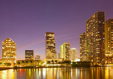 City of Miami Florida, night skyline. Stock Photos