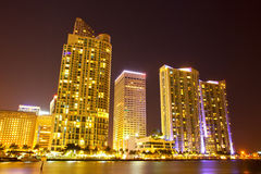 City of Miami Florida, night skyline. Royalty Free Stock Photography