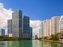City of Miami Florida, summer panorama of downtown buildings Stock Photography