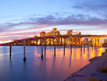 CIty of Miami Florida, summer sunset panorama Stock Images