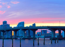 CIty of Miami Florida, summer sunset panorama Royalty Free Stock Photos