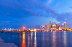 CIty of Miami Florida, summer sunset panorama Stock Photo