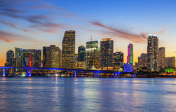 CIty of Miami Florida, summer sunset Stock Photos