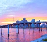 CIty of Miami Florida, summer sunset panorama Stock Photos