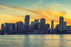 CIty of Miami Florida at sunset Royalty Free Stock Image