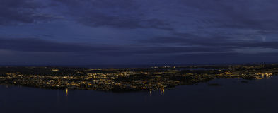 City in middle of the sea. Night view of Stavanger, Norway Royalty Free Stock Photos