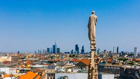 City of Milan viewed from the top of the Milan Cathedral stock images