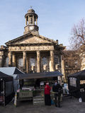 The City and Military Museum, with the weekly Farmers Market in Lancaster England in the Centre of the City Royalty Free Stock Image