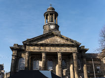 The City and Military Museum, with the weekly Farmers Market in Lancaster England in the Centre of the City Royalty Free Stock Photos