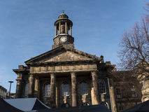 The City and Military Museum, with the weekly Farmers Market in Lancaster England in the Centre of the City Royalty Free Stock Photography