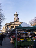 The City and Military Museum, with the weekly Farmers Market in Lancaster England in the Centre of the City Stock Image