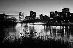 City of Milwaukee at night in black and white. Royalty Free Stock Photos