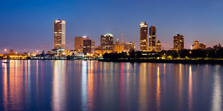 City of Milwaukee skyline. Image of Milwaukee skyline at twilight with city reflection in lake Michigan Royalty Free Stock Photo