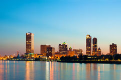 City of Milwaukee skyline. Image of Milwaukee skyline at twilight with city reflection in lake Michigan Royalty Free Stock Photos