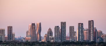 City of Mississauga near Toronto Skyline. City of Mississauga, a Bedroom community of Toronto, Skyline at Sunset stock images