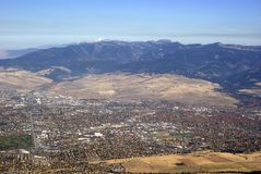 City of Missoula. Aerial view of the city of Missoula in Western Montana USA Stock Photography