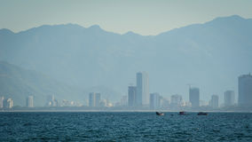 City in the mist with mountain background in Danang Royalty Free Stock Photo