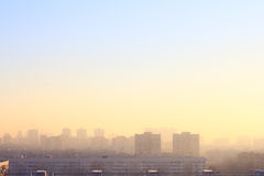 City at misty sunrise Stock Photography