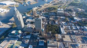 City of Mobile, Alabama. Aerial view of the Port city of Mobile Royalty Free Stock Photography