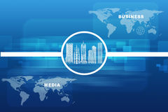 City model with business words. City model with world map and business words on abstract blue background Royalty Free Stock Photography