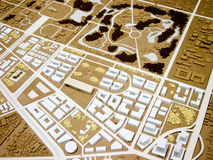 City model. Town plan of city model in brown and white Vector Illustration