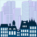 City. modern and old building background. stock  Royalty Free Stock Image