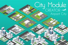 City module creator. Isometric airport of urban infrastructure business. Vector building illustration of skyscraper and collection of urban elements stock illustration
