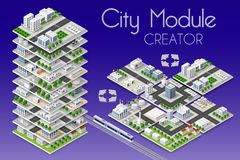 City module creator. Isometric concept of urban infrastructure business. Vector building illustration of skyscraper and collection of urban elements royalty free illustration