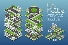 City module creator. Isometric concept of urban infrastructure business. Vector building illustration of skyscraper and collection of urban elements vector illustration