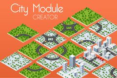 City module creator. Isometric concept of urban infrastructure business. Vector building illustration of skyscraper and collection of urban elements stock illustration