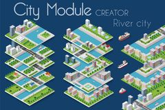 City module creator. Isometric concept of urban infrastructure business. Vector building illustration of river embankment with bridges of elements architecture stock illustration