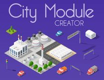 City module creator. Isometric concept of urban infrastructure business. Vector desert natural landscape and collection of urban elements architecture, home stock illustration