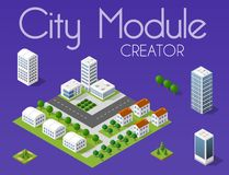 City module creator. Isometric concept of urban infrastructure business. Vector desert natural landscape and collection of urban elements architecture, home vector illustration