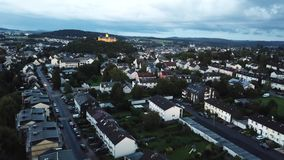 City of Montabaur, Germany. Aerial view of the city of Montabaur. Rhineland-Palatinate, Germany stock footage