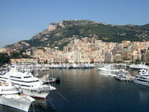 The city of Monte Carlo, Monaco. Monte Carlo Harbor on the summer day Royalty Free Stock Photography