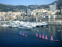 The city of Monte Carlo, Monaco. Monte Carlo Harbor on the summer day Stock Images
