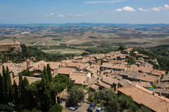 City of Montepulciano in Tuscany, Italy. View from above the City of Pienza in Tuscany, Italy stock images
