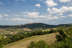 City of Montepulciano in Tuscany, Italy. View from outside the City of Montepulciano in Tuscany, Italy stock photography
