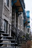 City of Montreal. Particular stairs houses montreal city stock image