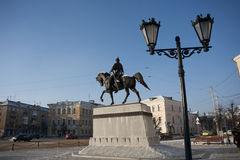 City monument. Bronze statue of Prince Mikhail of Tver Royalty Free Stock Photography