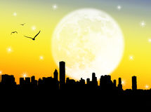 City in the moon Royalty Free Stock Photos