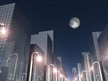 City moonlight. 3d render of nigth scene in a modern city Royalty Free Stock Photo