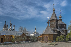 City of Moore. Wooden church of St. Sergius of Radonezh. Royalty Free Stock Photos