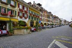 City of Morat also called Murten, main street Stock Image